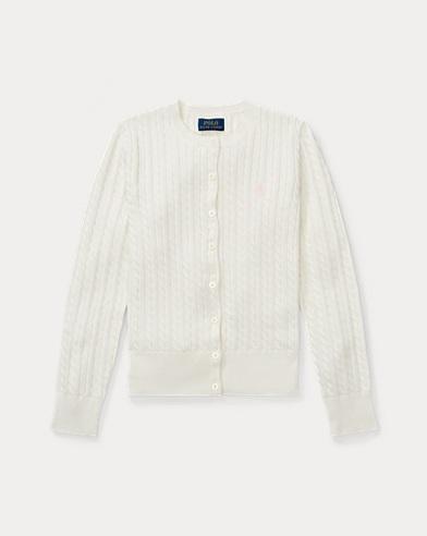 폴로 랄프로렌 걸즈 가디건 화이트 Polo Ralph Lauren Mini-Cable Cotton Cardigan,Warm White