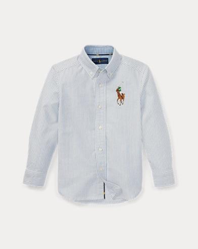 폴로 랄프로렌 남아용 옥스포드 셔츠 블루/화이트 Polo Ralph Lauren Striped Cotton Oxford Shirt,Blue/White Stripe