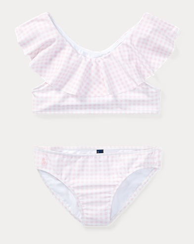 폴로 랄프로렌 Polo Ralph Lauren Gingham Two-Piece Swimsuit,Pink Multi