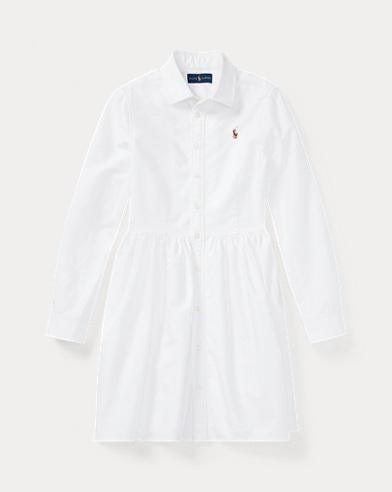 폴로 랄프로렌 걸즈 셔츠 원피스 화이트 Polo Ralph Lauren Cotton Oxford Shirtdress,White