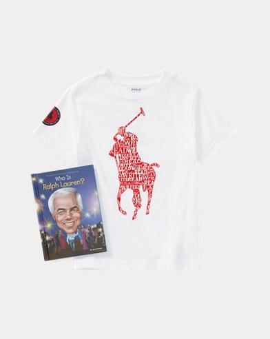폴로 랄프로렌 남아용 티셔츠 세트 Polo Ralph Lauren T-Shirt & Who Is RL Book Set,White