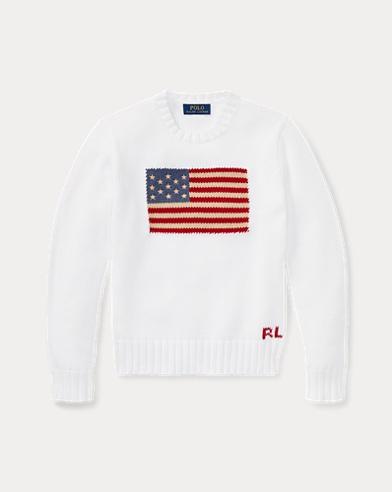 폴로 랄프로렌 Polo Ralph Lauren Flag Cotton Crewneck Sweater,White