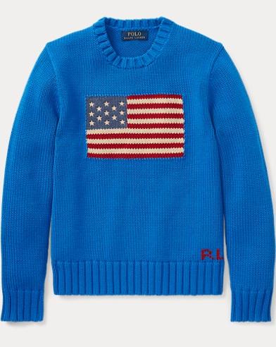 폴로 랄프로렌 Polo Ralph Lauren Flag Cotton Crewneck Sweater,Spa Royal