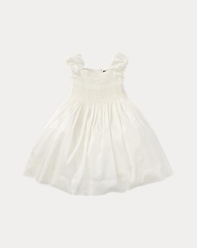 폴로 랄프로렌 걸즈 실크 원피스 - 크림 Polo Ralph Lauren Smocked Silk Dress