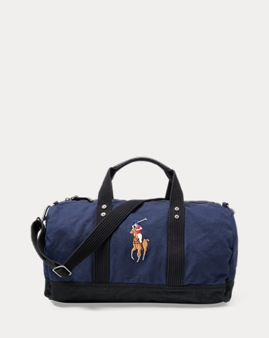 폴로 랄프로렌 더플백 네이비/블랙 Polo Ralph Lauren Canvas Big Pony Duffel Bag,Navy/Black