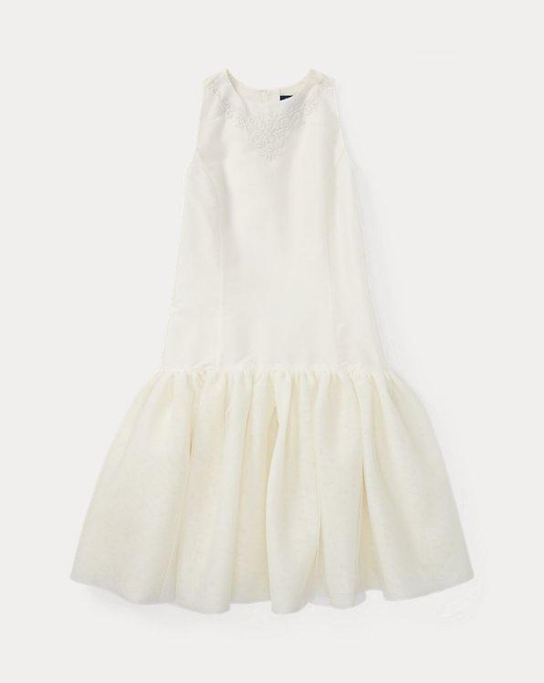폴로 랄프로렌 걸즈 원피스 Polo Ralph Lauren Embroidered Silk Tulle Dress,Cream