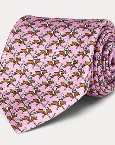 폴로 랄프로렌 Polo Ralph Lauren Polo Player Silk Narrow Tie,Light Pink