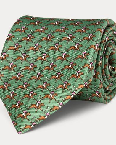 폴로 랄프로렌 Polo Ralph Lauren Polo Player Silk Narrow Tie,Light Green