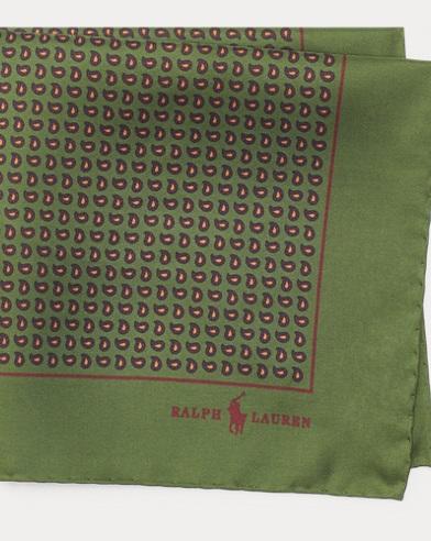 폴로 랄프로렌 Polo Ralph Lauren Neat Silk Twill Pocket Square,Green