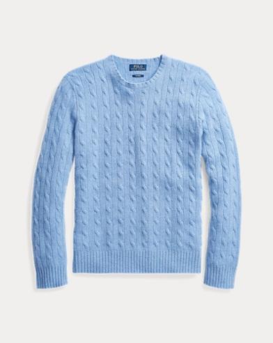 폴로 랄프로렌 꽈배기 니트 캐시미어 스웨터 하늘색 Polo Ralph Lauren Cable-Knit Cashmere Sweater