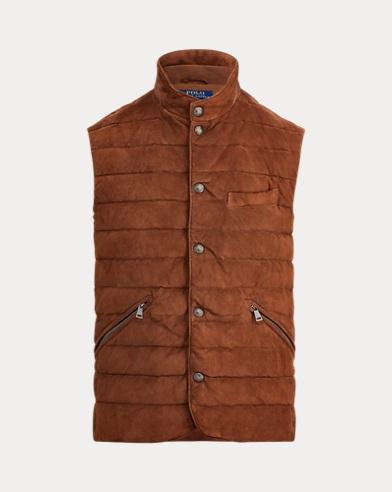 폴로 랄프로렌 퀼팅 스웨이드 조끼 (브라운) Polo Ralph Lauren Quilted Suede Vest,Country Brown