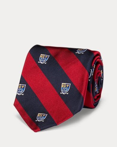 폴로 랄프로렌 Polo Ralph Lauren Silk Repp Narrow Club Tie,Navy/Red