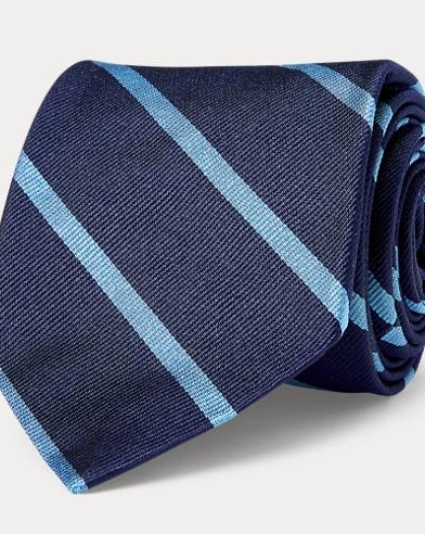폴로 랄프로렌 Polo Ralph Lauren Striped Silk Repp Narrow Tie,Navy/Lt Blue