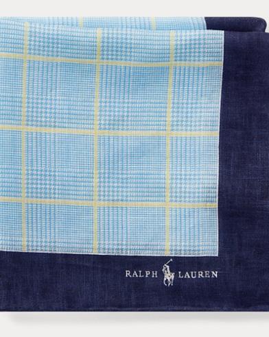 폴로 랄프로렌 Polo Ralph Lauren Glen Plaid Linen Pocket Square,Royal/Yellow