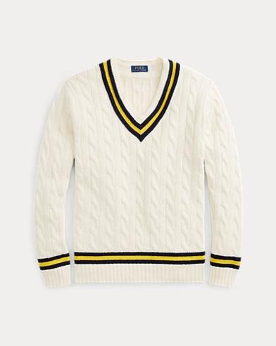 폴로 랄프로렌 Polo Ralph Lauren The Iconic Cricket Sweater,Cream W/ Navy And Yellow