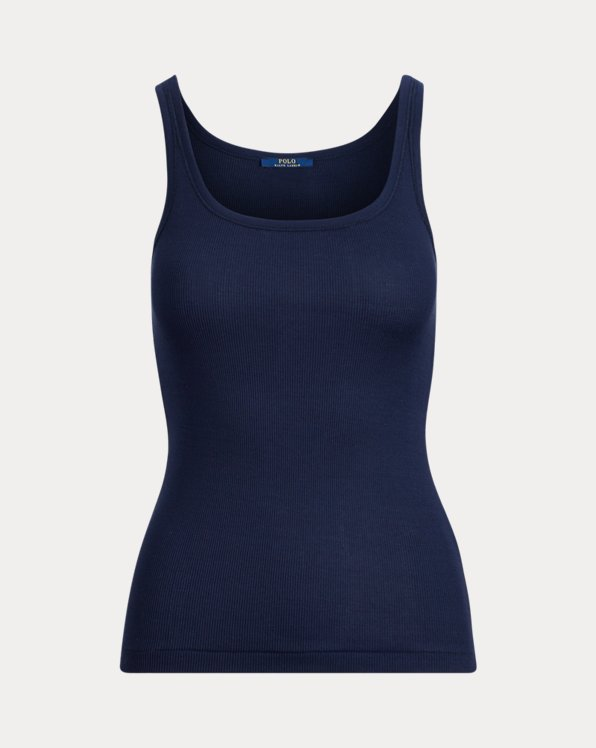 폴로 랄프로렌 우먼 탱크탑 Polo Ralph Lauren Ribbed Cotton Tank Top,Cruise Navy