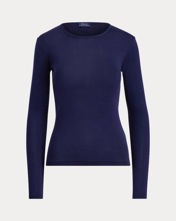 폴로 랄프로렌 우먼 티셔츠 Polo Ralph Lauren Cotton Long-Sleeve T-Shirt,Cruise Navy