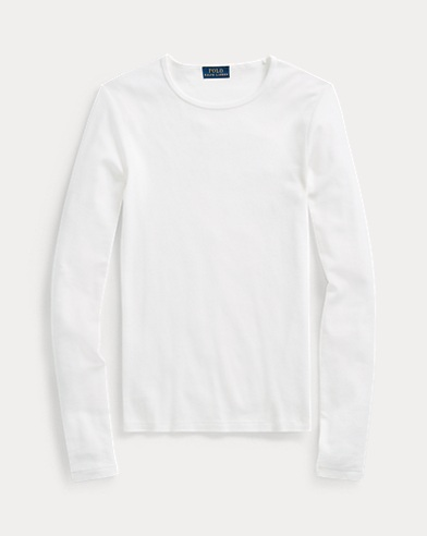 폴로 랄프로렌 Polo Ralph Lauren Cotton Long-Sleeve T-Shirt,White