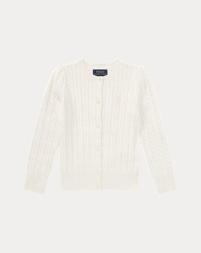 폴로 랄프로렌 Polo Ralph Lauren Mini-Cable Cotton Cardigan,Warm White