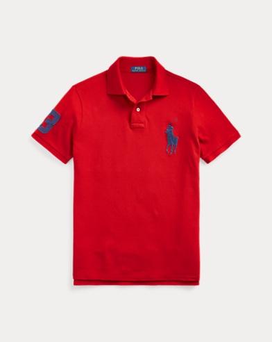 폴로 랄프로렌 Polo Ralph Lauren Custom Slim Fit Mesh Polo,RL 2000 Red