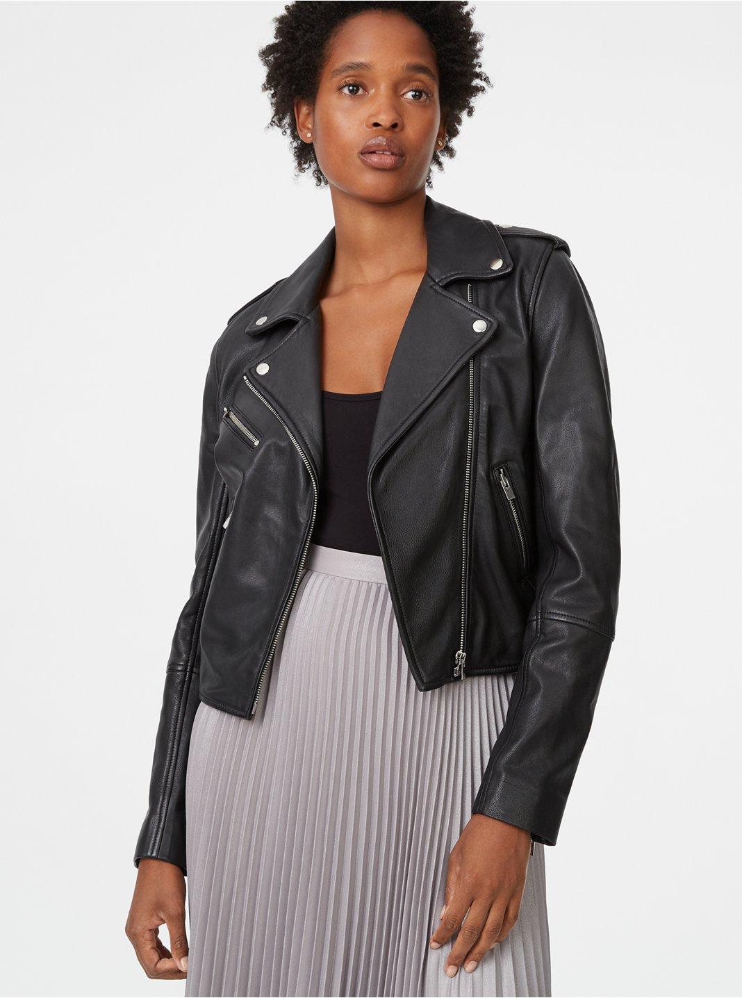 클럽 모나코 Club Monaco Gracella Leather Jacket,Black