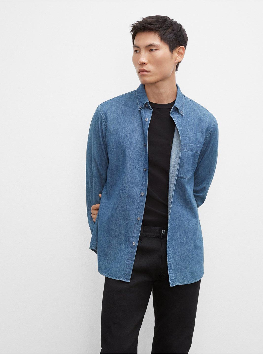 클럽 모나코 맨 슬림 데님 셔츠 - 2 컬러 (강하늘, 최우식 착용) Club Monaco Slim Denim Shirt