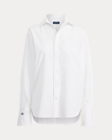 폴로 랄프로렌 우먼 모노그램 슬리브 셔츠 - 화이트 Polo Ralph Lauren Monogram-Sleeve Button-Down,White