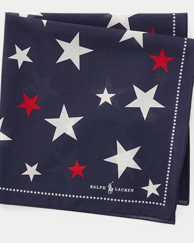 폴로 랄프로렌 Polo Ralph Lauren Star Cotton Pocket Square,Navy/Red