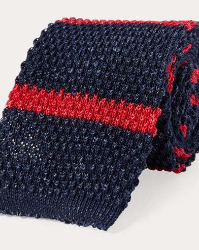 폴로 랄프로렌 Polo Ralph Lauren Striped Knit Linen-Cotton Tie,Navy/Red
