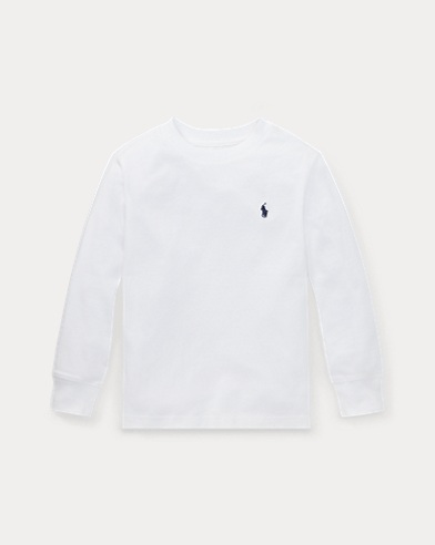 폴로 랄프로렌 남아용 티셔츠 화이트 Polo Ralph Lauren Cotton Jersey Crewneck T-Shirt,White