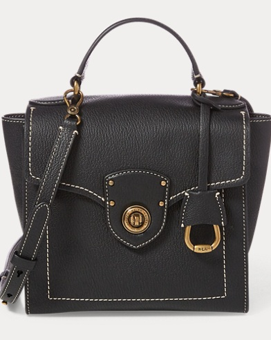 폴로 랄프로렌 사첼백 블랙 Polo Ralph Lauren Leather Crossbody Satchel Bag,Black