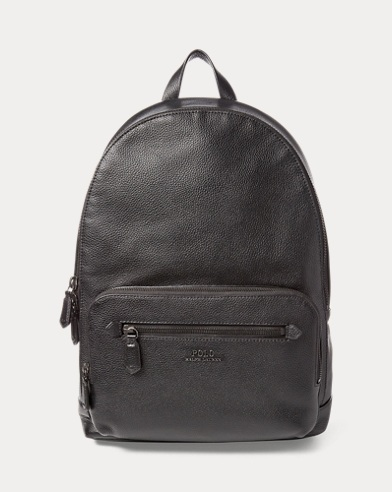 폴로 랄프로렌 백팩 블랙 Polo Ralph Lauren Pebbled Leather Backpack,Black