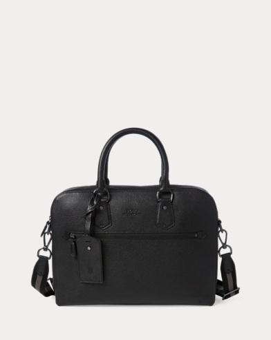 폴로 랄프로렌 노트북 가방 블랙 Polo Ralph Lauren Pebbled Leather Briefcase,Black