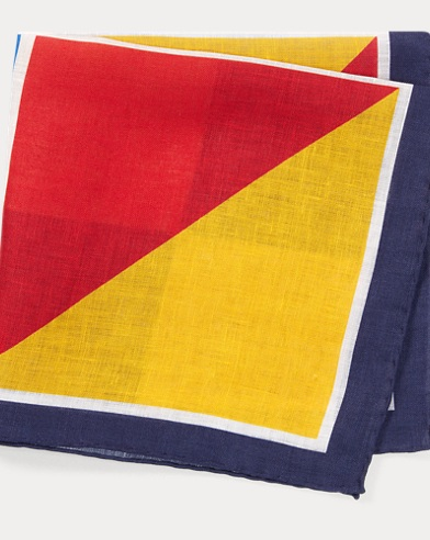 폴로 랄프로렌 Polo Ralph Lauren Nautical Linen Pocket Square,Navy Multi