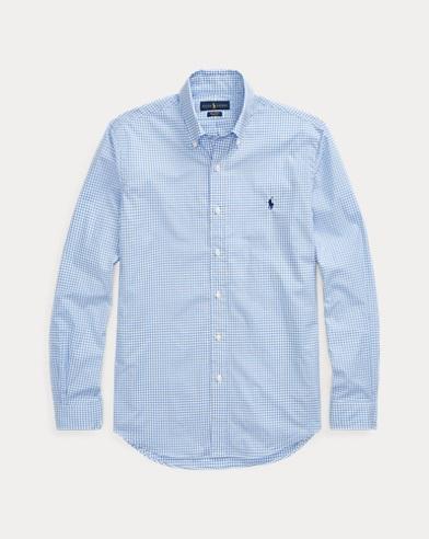 폴로 랄프로렌 맨 체크 포플린 셔츠 - 블루 화이트 Polo Ralph Lauren Checked Poplin Shirt, Blue/White Check