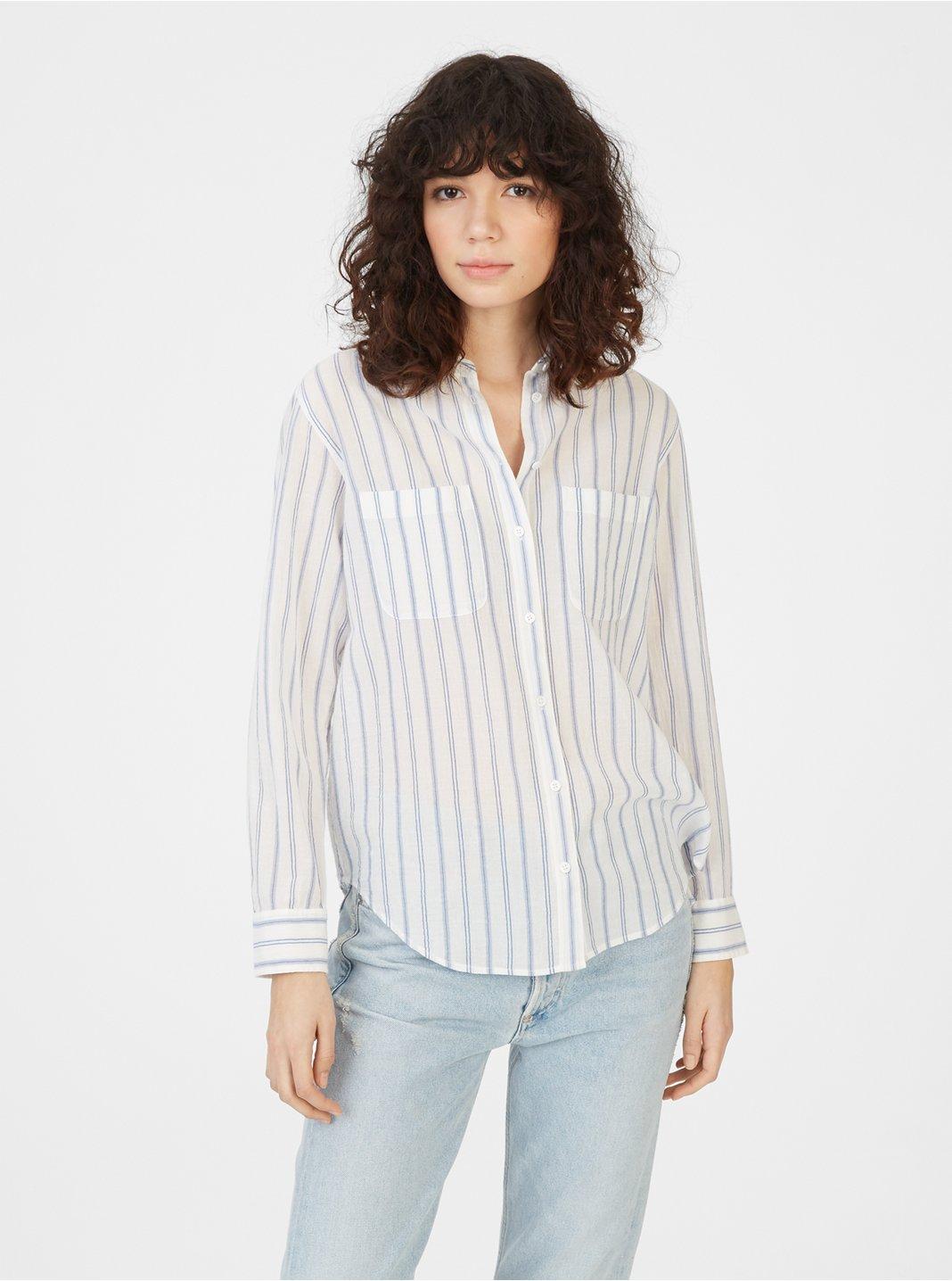 클럽 모나코 셔츠 Club Monaco Claudia Shirt,Blue/White Stripe