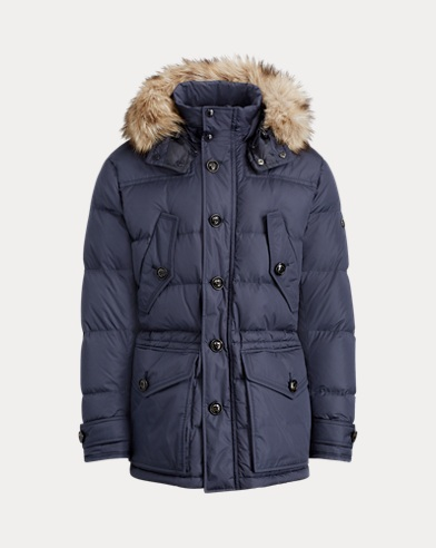 폴로 랄프로렌 Polo Ralph Lauren RLX Faux Fur-Trim Down Parka,Classic Chairman Navy