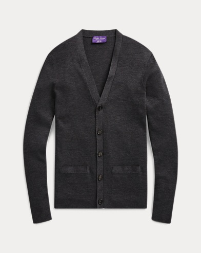 폴로 랄프로렌 Polo Ralph Lauren RLX Slim Fit Merino Cardigan,Medium Grey Melange