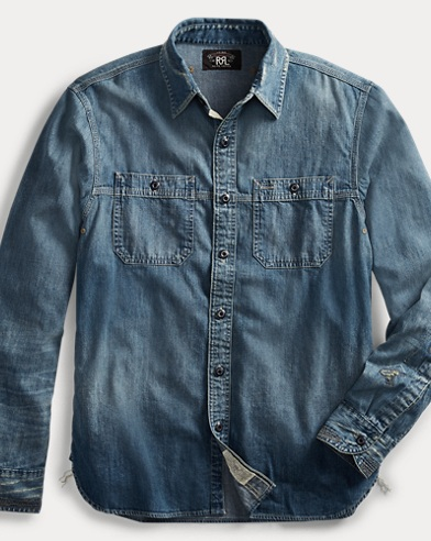 폴로 랄프로렌 Polo Ralph Lauren Repaired Denim Workshirt,Pioneer Wash