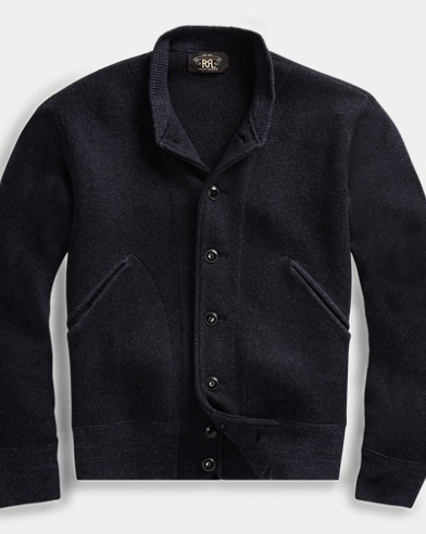폴로 랄프로렌 Polo Ralph Lauren Cotton-Wool Baseball Cardigan,Navy