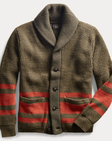폴로 랄프로렌 Polo Ralph Lauren Cotton-Wool Shawl Cardigan,Olive Drab