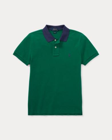 폴로 랄프로렌 보이즈 반팔 카라티 그린 (슬림핏) Polo Ralph Lauren Slim Fit Cotton Mesh Polo,Bush Green