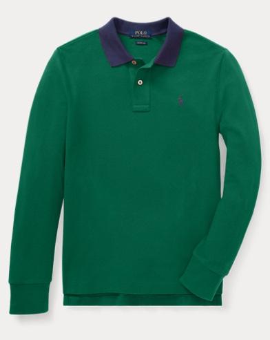 폴로 랄프로렌 보이즈 긴팔 카라티 그린 (슬림핏) Polo Ralph Lauren Slim Fit Cotton Mesh Polo,Bush Green