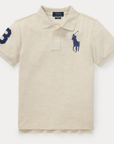 폴로 랄프로렌 보이즈 반팔 카라티 샌드 (슬림핏) Polo Ralph Lauren Slim Fit Cotton Mesh Polo,New Sand Heather