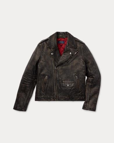 폴로 랄프로렌 보이즈 자켓 블랙 Polo Ralph Lauren Leather Moto Jacket,Black