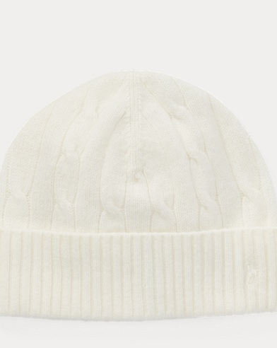 폴로 랄프로렌 보이즈 울 캐시미어 꽈배기니트 비니 모자 크림 Polo Ralph Lauren Cable-Knit Wool-Cashmere Hat,Cream