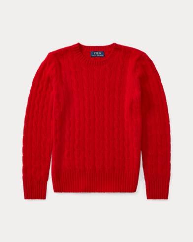 폴로 랄프로렌 보이즈 꽈배기 캐시미어 스웨터 레드 Polo Ralph Lauren Cable-Knit Cashmere Sweater,RL 2000 Red