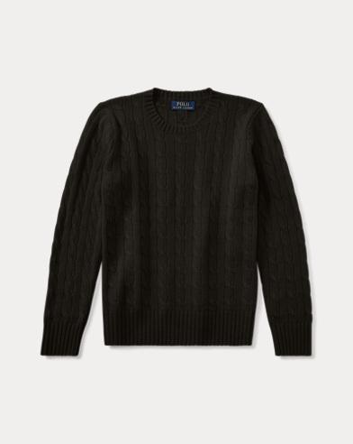 폴로 랄프로렌 보이즈 꽈배기 캐시미어 스웨터 블랙 Polo Ralph Lauren Cable-Knit Cashmere Sweater,Polo Black