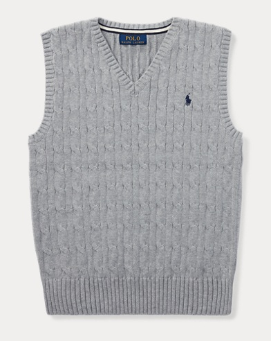 폴로 랄프로렌 보이즈 꽈배기 베스트 그레이 Polo Ralph Lauren Cable-Knit Cotton Sweater Vest,Andover Heather