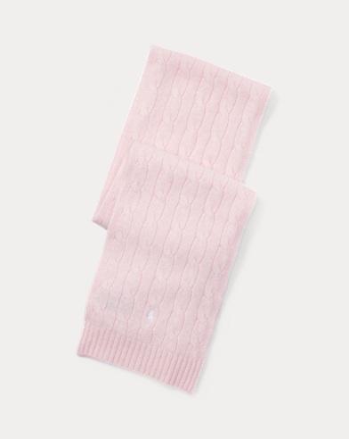 폴로 랄프로렌 보이즈 울 캐시미어 꽈배기 스카프 핑크 Polo Ralph Lauren Cable-Knit Wool-Cashmere Scarf,Hint Of Pink